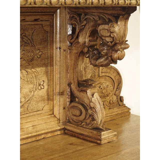 """Wood Richly Carved French Hunt Buffet """"St. Hubert"""" in Blonde Oak, Circa 1890 For Sale - Image 7 of 13"""