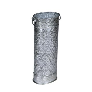 Embossed Oval Silver Metallic Aluminum Umbrella Stand With Handles For Sale