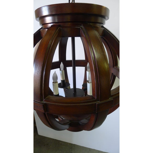 2010s Carved Wood Sphere Chandelier Pendant by Paul Marra For Sale - Image 5 of 8