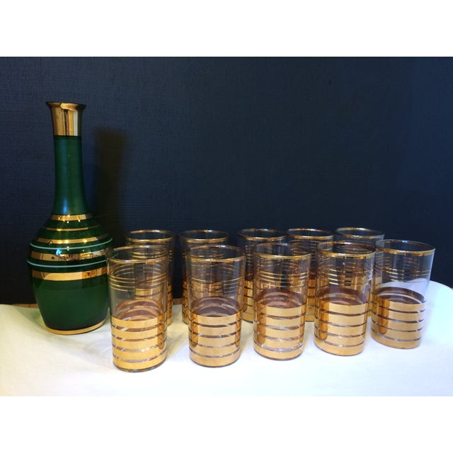 Holiday Christmas Bar Set with Culver Gold Glasses - Image 2 of 9
