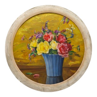 Round Floral Still Life Painting by Lula Teeter Kenny For Sale