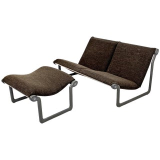 1970s Mid-Century Modern Hannah Morrison Knoll Two-Seat Sling Sofa & Ottoman For Sale