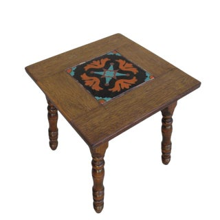 American Craftsman Spanish Style Antique Tile Top Table Accent Table For Sale