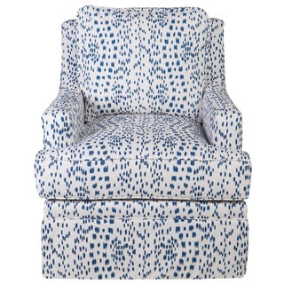 Upholstered Club Chair in Brunschwig & Fils Les Touches (Blue) For Sale
