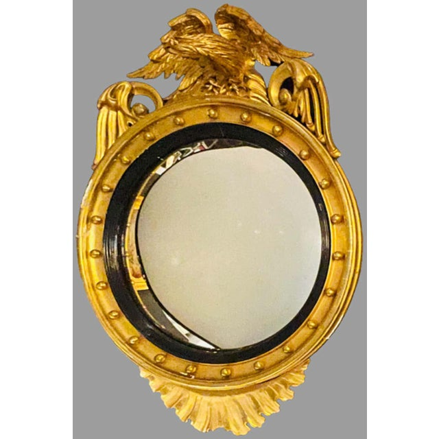 Federal Style Gilt Gold Convex Mirror, Wall, Console or Pier Mirror For Sale - Image 9 of 10