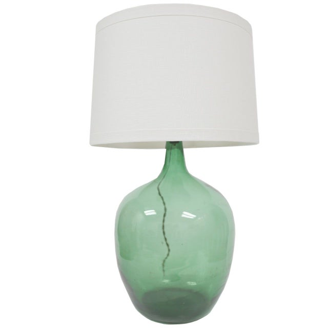 Vintage Green Demijohn Lamp - Image 1 of 2
