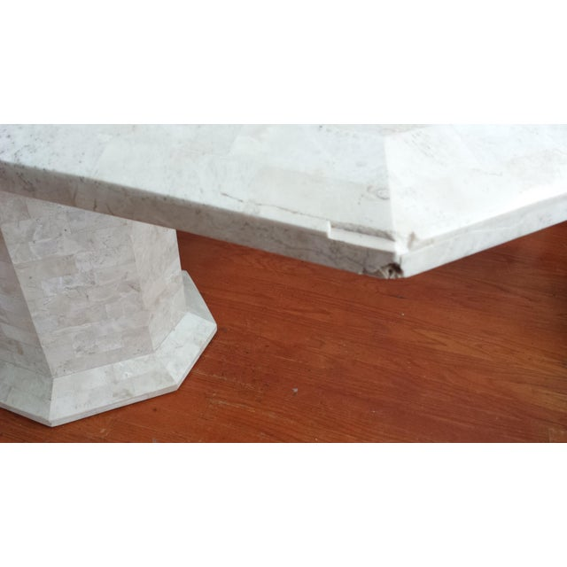 Tessellated Fossil Stone Pedestal Dining Table - Image 6 of 8