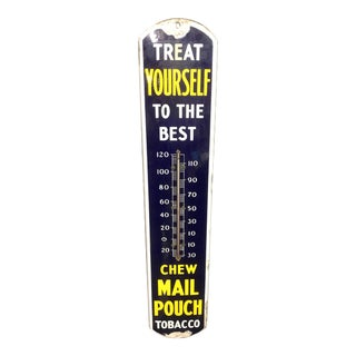 Mail Pouch Tobacco Porcelain and Metal Thermometer