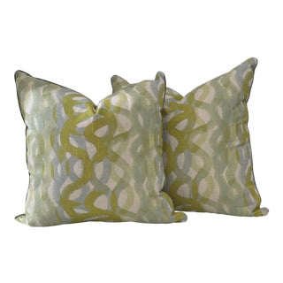 Blue & Green Swirl Patterned Pillows- a Pair For Sale