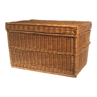 Boho Chic Wicker Trunk, 1970s For Sale