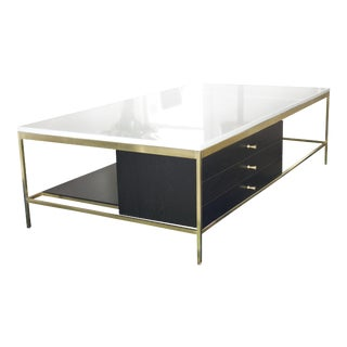 1950s Vintage Paul McCobb Brass & Marble Three Drawer Ebonized Wood Coffee Table For Sale