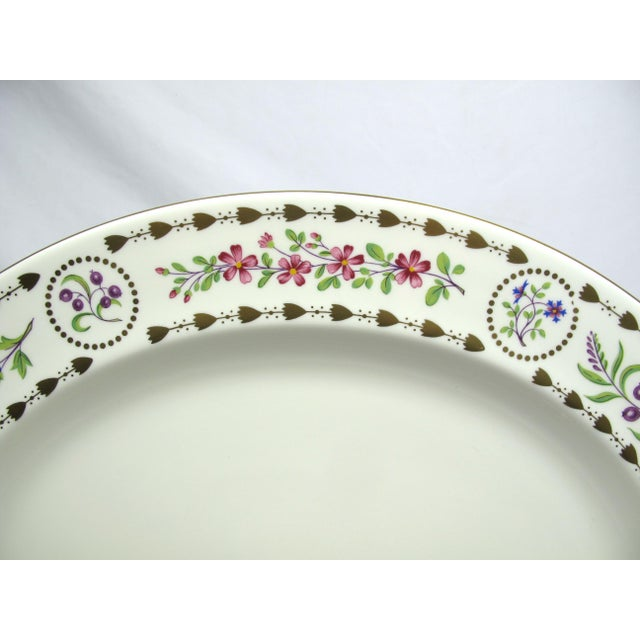 Large vintage Royal Worcester Trianon serving platter. Cream colored porcelain with brightly colored floral decoration and...