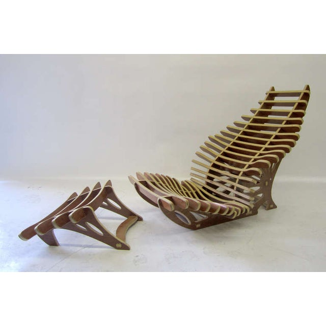 Sculptural Vertebrae Chaise and Ottoman Set For Sale - Image 4 of 5