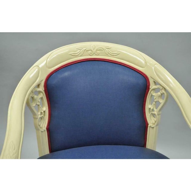 Asian Cream Lacquered Chinoiserie Blue Barrel Back Lounge Club Arm Chairs - A Pair For Sale - Image 3 of 10
