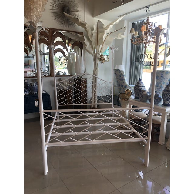 Vintage Chinese Chippendale Palm Tree Leaf Metal Four Poster Queen Full Size Bed For Sale - Image 10 of 12