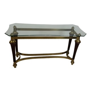 1970s Art Deco Brass Console Table For Sale