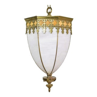 Antique Gothic Style Slag Glass and Brass Octagon Chandelier Pendant Light, 2 Available For Sale