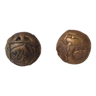 Carved Brass Balls - A Pair