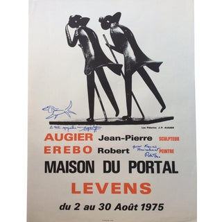 French Art Exhibition Poster, Signed Jean-Pierre Augier and Robert Er For Sale
