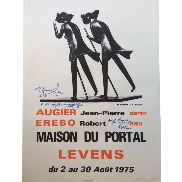 French Art Exhibition Poster, Signed Jean-Pierre Augier and Robert Erebo For Sale