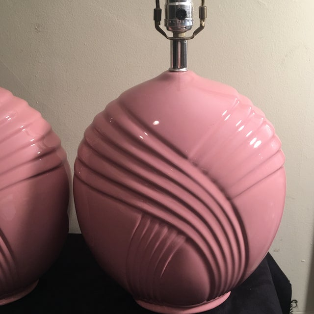 Mid-Century Modern Hollywood Regency Pink Lamps - A Pair - Image 4 of 5