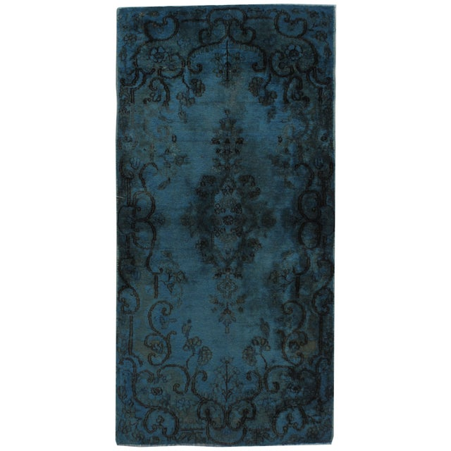 "Vintage Over-Dyed Kerman Rug - 2'1"" X 4' For Sale"