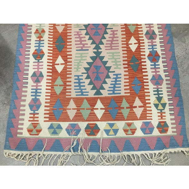 Blue Contemporary Turkish Kilim Rug - 4′ × 6′2″ For Sale - Image 8 of 11