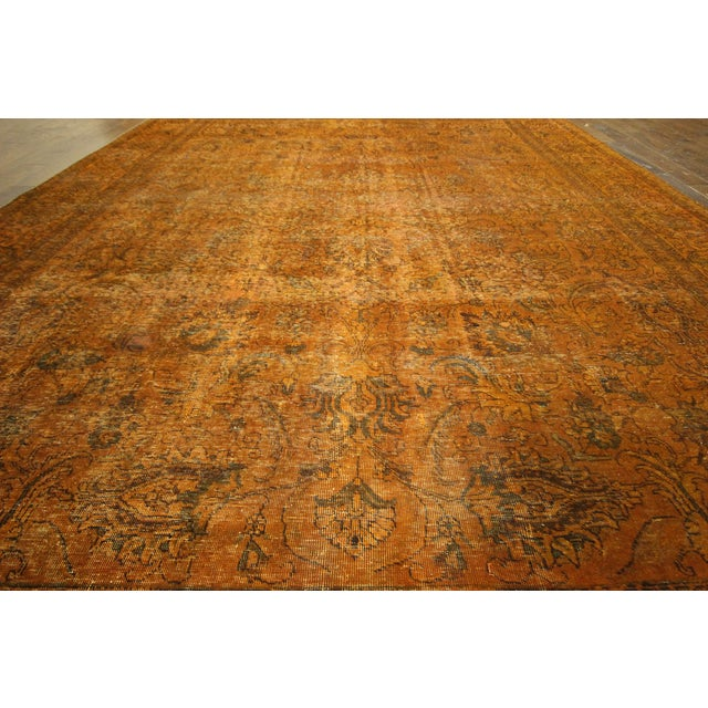 "Orange Tabriz Overdyed Area Rug - 9'10"" X 12'3"" - Image 5 of 10"