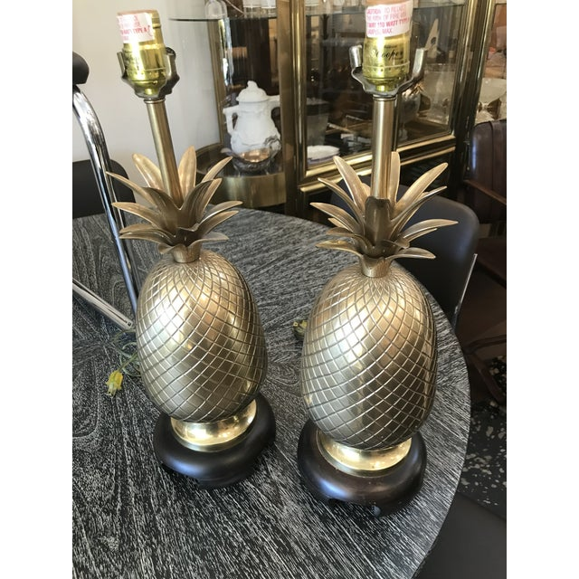 Asian Pair of Frederick Cooper Brass Pineapple Lamps For Sale - Image 3 of 7