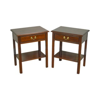 Stickley Chippendale Style Renaissance Pair Cherry One Drawer Nightstands For Sale