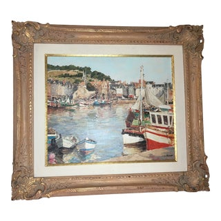 1960s French Harbor Scene Painting by Claude Jousset For Sale