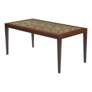 1960s Danish Modern Royal CopenhagenRosewood and Ceramic Tile Coffee Table For Sale