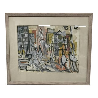 Mid-Century Abstract City Scene Watercolor For Sale