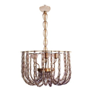 Large Lilac Murano Glass Chandelier, Mid Century Modern, Venini Style 1960s For Sale