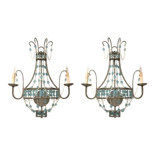 Boho Chic Modern Blue and Clear Glass Versailles Wall Sconces Pair For Sale