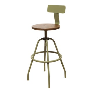 """Swivel Studio Work Stool"" in Reed Green With Back Rest by Makr For Sale"