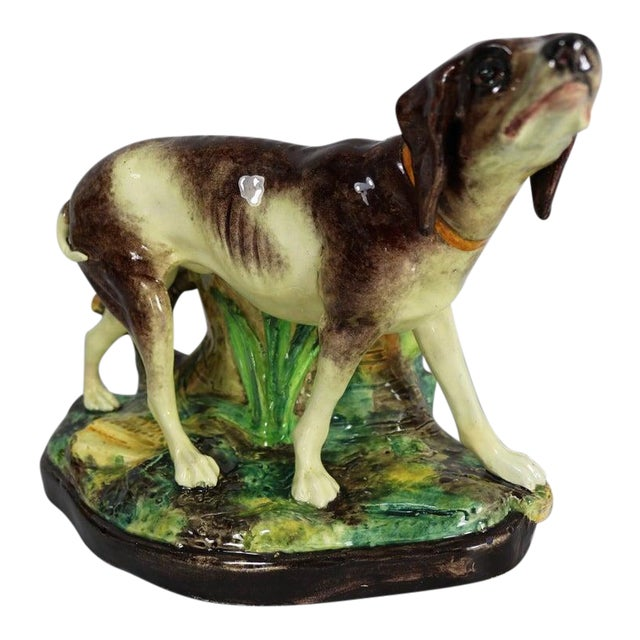 Early 20th Century Jerome Massier Fils Majolica Dog Figural Vase For Sale
