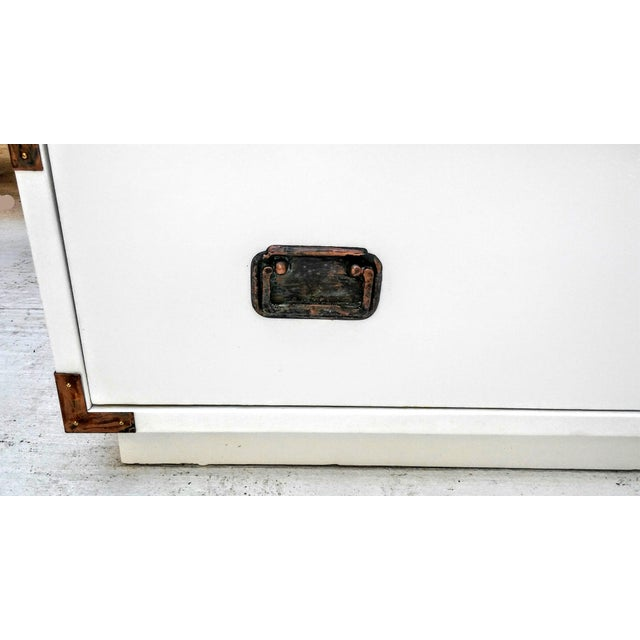 White Small Campaign Dresser Side Table For Sale - Image 8 of 9