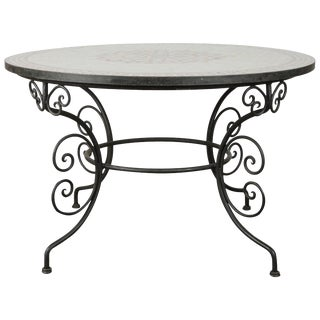 Late 20th Century Vintage Moroccan Outdoor Round Mosaic Tile Dining Table on Iron Base For Sale