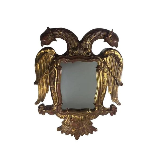 Wood Late 19th Century Carved Giltwood Two-Headed-Eagle Wall Mirror For Sale - Image 7 of 8