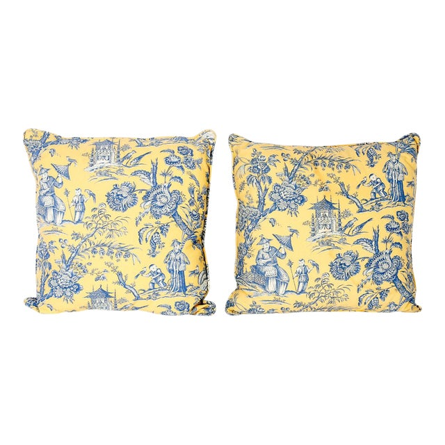 French Toile Style Linen Pillows - A Pair For Sale