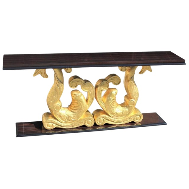 1930s French Art Deco Macassar Ebony Giltwood Console Table For Sale