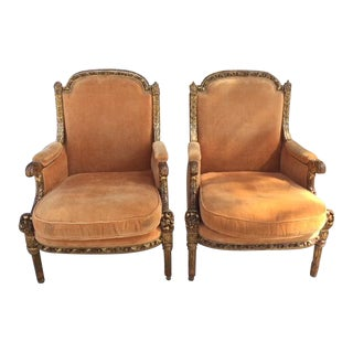 19th Century Italian Carved Giltwood Arm Chairs- a Pair For Sale