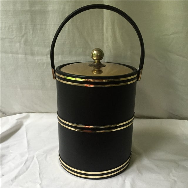 Faux Leather & Gold Ice Bucket - Image 2 of 5