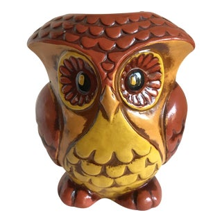 Mid-Century Owl Bank & Candle Holder For Sale