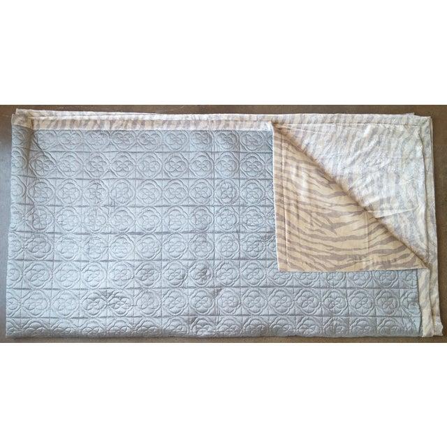 Silk & Velvet Quilt Coverlet - Image 2 of 4