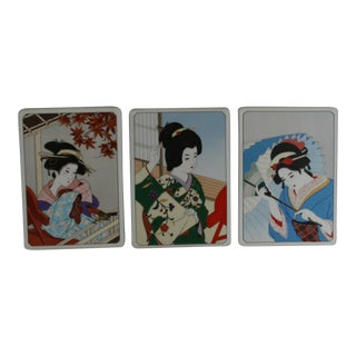 Vintage Noritake Porcelain Geisha Tile Wall Plaques - Set of 3 For Sale