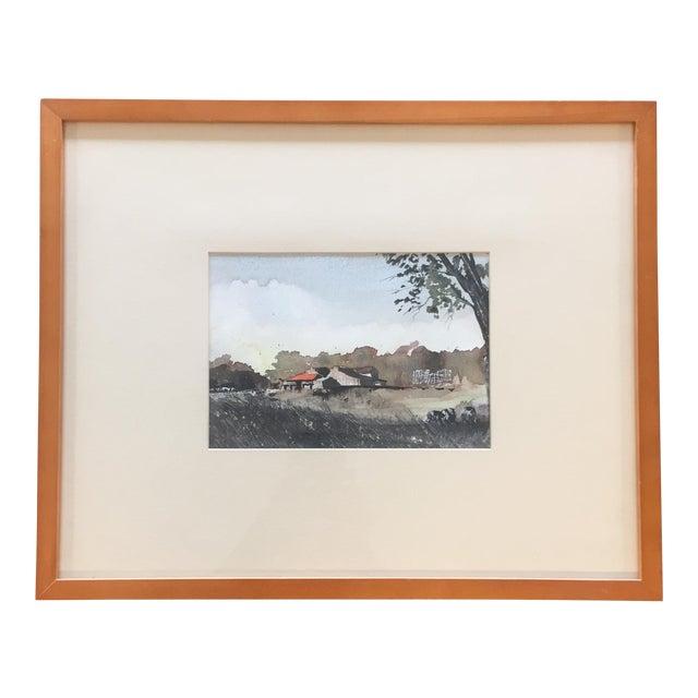 Vintage Original Watercolor Landscape W/ Cows Painting For Sale