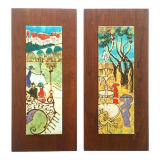 Harris Strong Rare Vintage Mid Century Modern Hand Painted Ceramic Tile Walnut Wood Wall Art Panels - Set of 2 For Sale