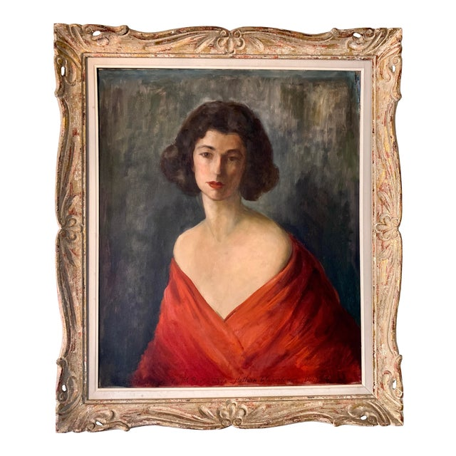 1950s Portrait of a Woman Oil Painting by Nathan Wasserberger, Framed For Sale